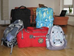 Unsere gepackten Taschen